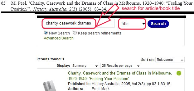 Finding a publication from a reference list - example [Image source: UniSA Library]