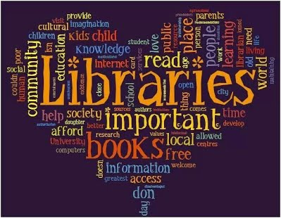 Heart shaped word cloud with reading, library, and book related words