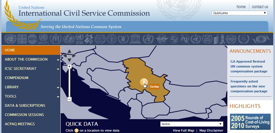 Screenshot of ICSC website showing interactive map displaying Serbia