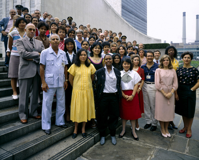 A representative group of the United Nations Headquarters staff. 01 August 1985. UN Photo # 31693