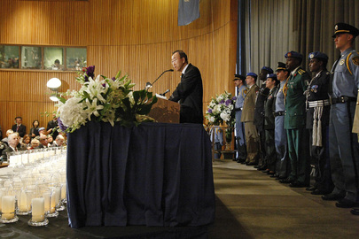 Secretary-General Addresses Memorial Ceremony for Fallen UN Haiti Staff. 09 March 2010. UN Photo # 430429