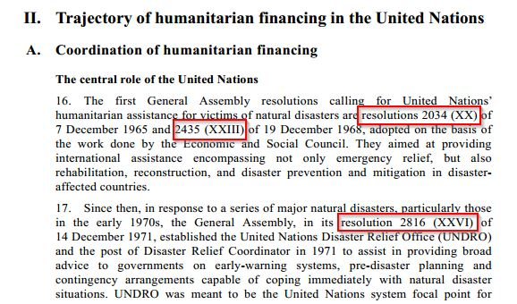 JIU report indicating initial resolutions on humanitarian financing