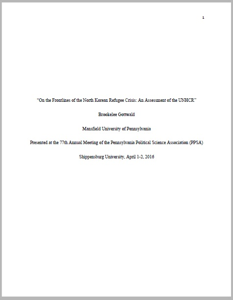 """On the Frontlines of the North Korean Refugee Crisis: An Assessment of the UNHCR"" Paper"