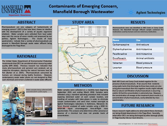 """Contaminants of Emerging Concern, Mansfield Borough Wastewater"" Poster"
