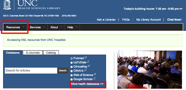 HSL front page with the quick resources box to the left highlighted