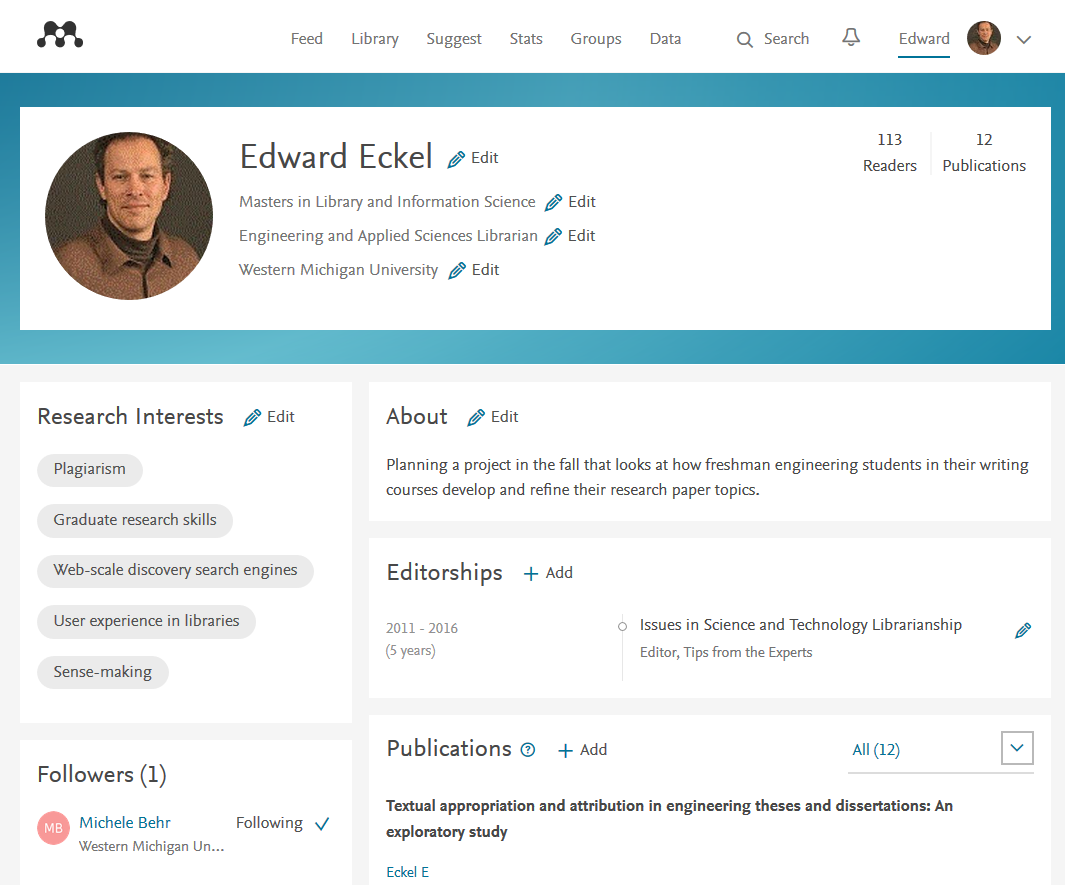 Eckel Mendeley personal profile image