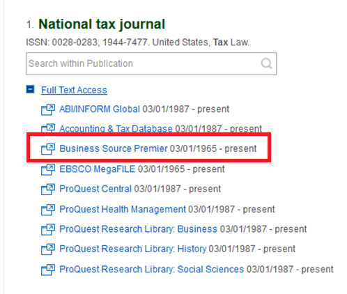 Selecting Business Source Premier from list of databases containing National Tax Journal