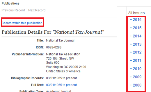 Search within this publication option is highlighted in red, along with years of publication