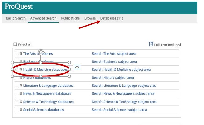 Proquest screen shot