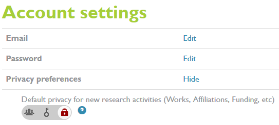 Account Settings for ORCID
