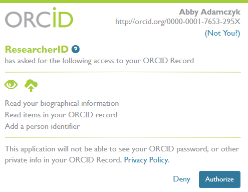 ORCID - Link to ResearcherID