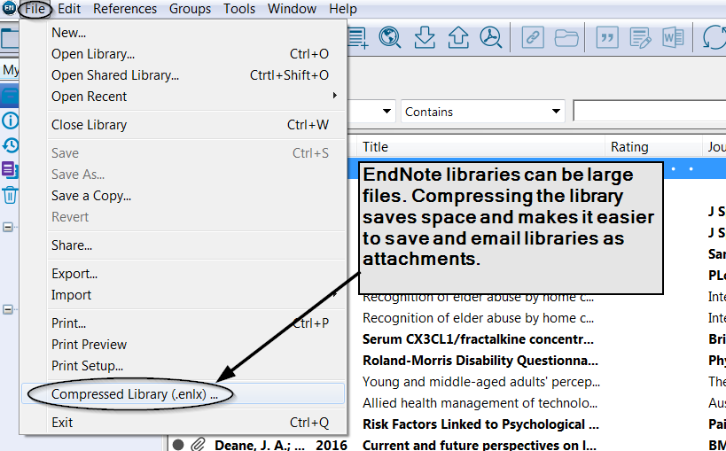 Saving an EndNote library
