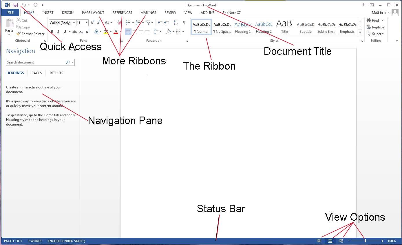 Word Workspace Microsoft Word 2013 Basics Ulibraries