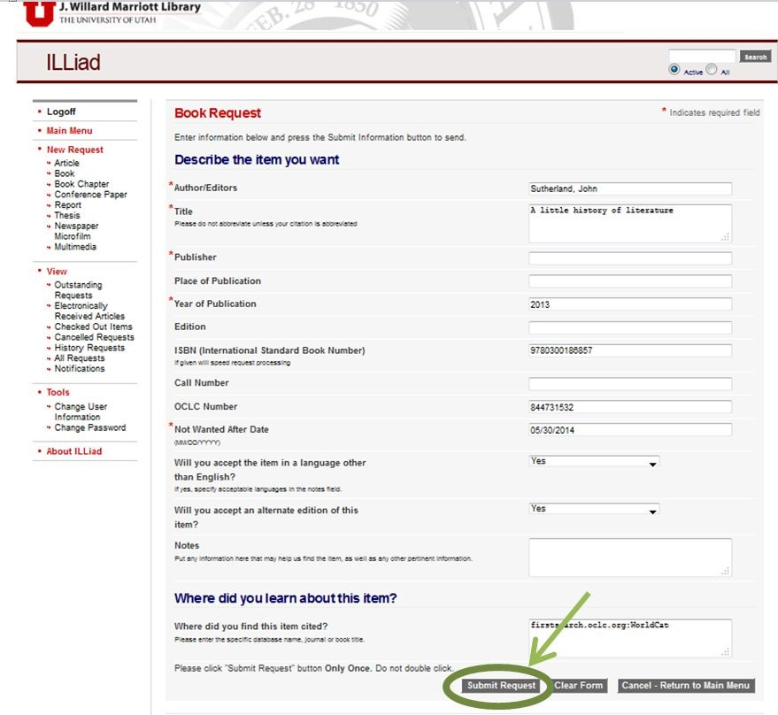 Request Through Marriott Library Home Page  Interlibrary Loan
