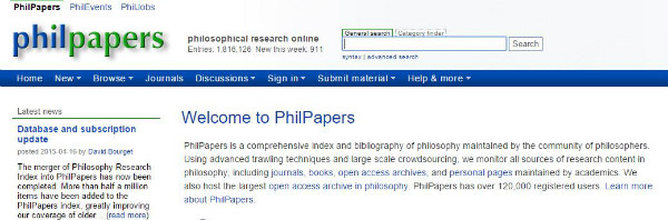 Philpapers the database for Philosophy