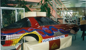 Vehicle painting display circa 80's at Wollongong Campus Library