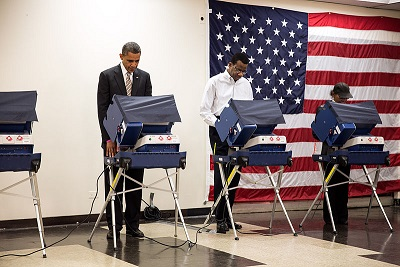 President Obama voting in the 2012 election.