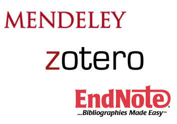 Logo images for Mendeley, Zotero, and EndNote