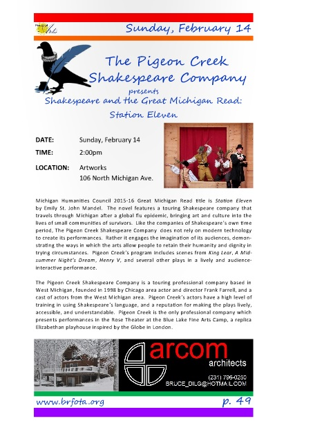 Pigeon Creek Shakespeare Company performance Feb 14 at 2:00