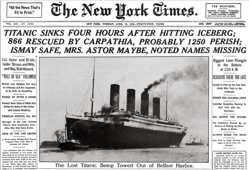 Historical New York Times Front Page about the Titanic