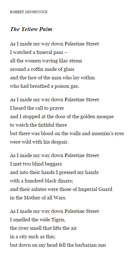yellow palm by robert minhinnick Robert minhinnick b 1952  'the yellow palm' is concerned with violence on palestine street this poem, unusually, runs to a tighter, song-like metre that .
