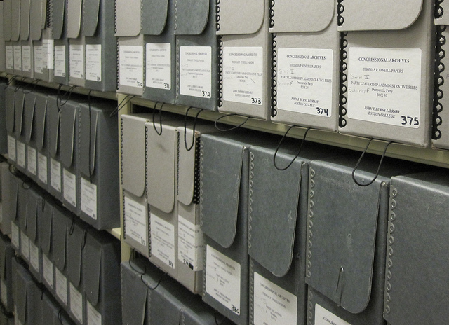 Archival boxes on the shelves at the Burns Library, Boston College