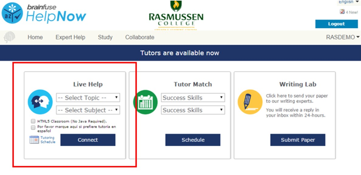 Within the Brainfuse tutoring platform, the area for Live Help is on the left side.