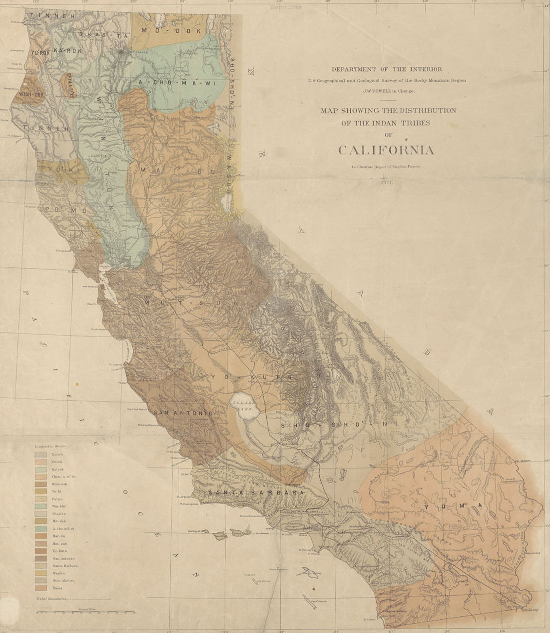 "G4361.E1 1877.G4 Case C, ""Map showing the distribution of the Indian tribes in California, Map showing the distribution of the Indian tribes in California."""