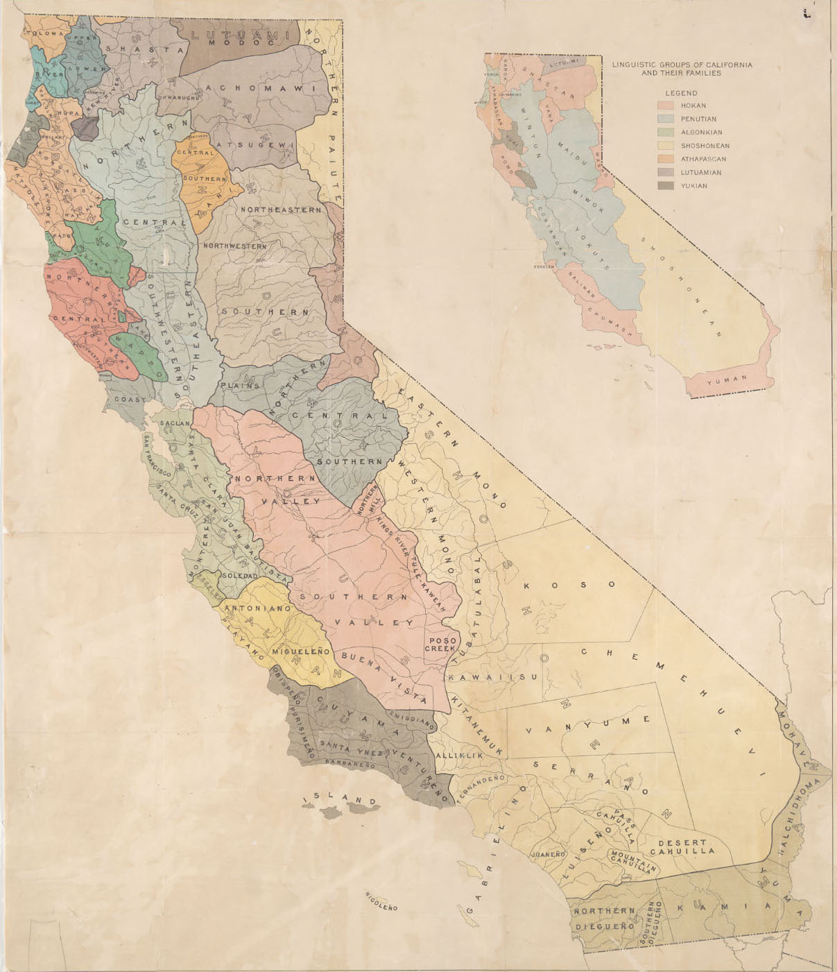 "Map G 04361.E1 1925 .S6 Case C Bancroft, ""Indians of California by stocks and tribes."""