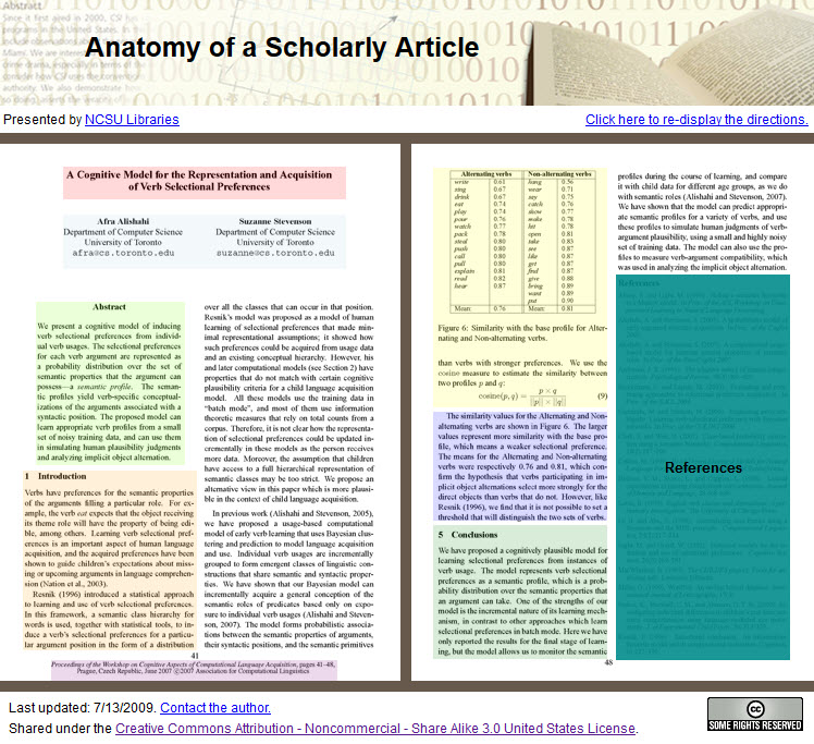 "Link to interactive ""Anatomy of a Scholarly Article"" presented by North Carolina State University Libraries"