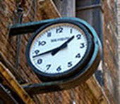Clock on exterior of building
