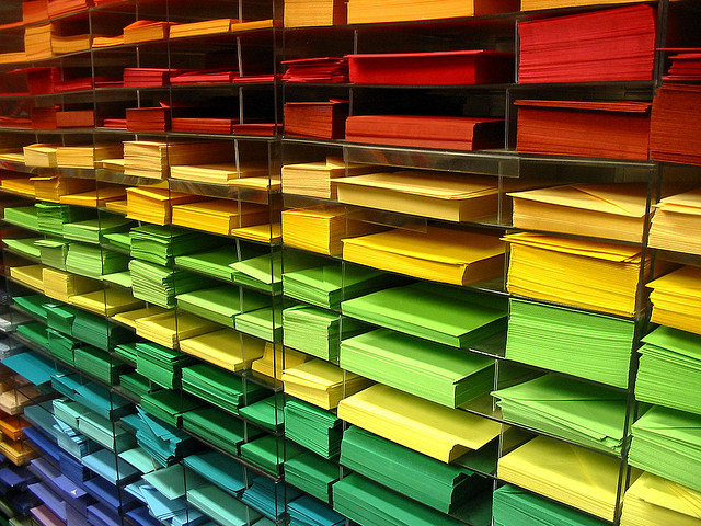 Image showing coloured paper on shelves
