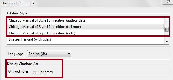 Document Preferences: Choose a Citation Style