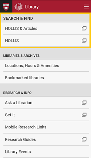 Harvard Mobile Library Feature Hollis