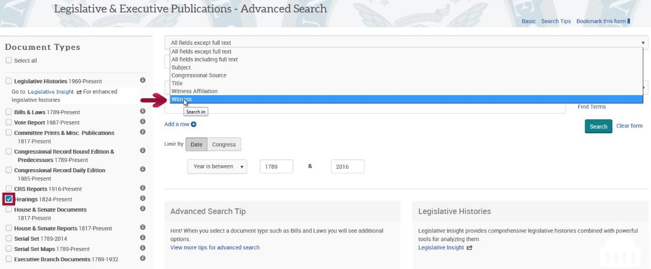 Legislative & Executive Publications - Advanced Search