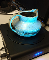 pottery on scanner turntable