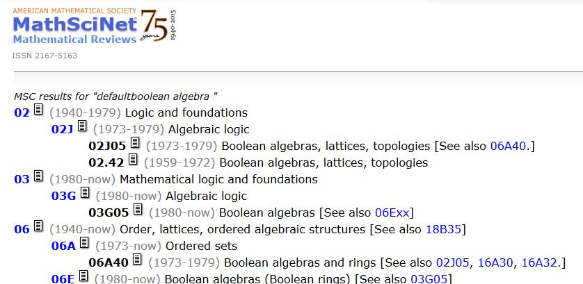 Kuvakaappaus MathSciNetin luokittelusta.