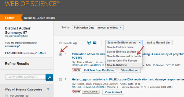 adding publications to a researcherid account from the web of science data source web of science 18112014 - Web Researcher