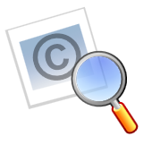 copyright symbol with magnifying class