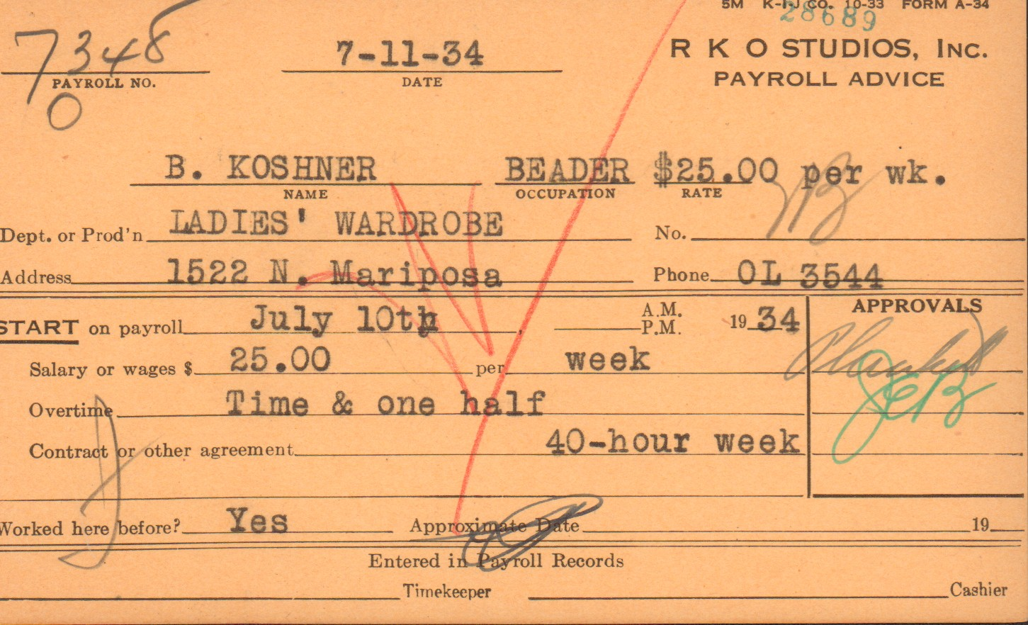 B. Koshner payroll card