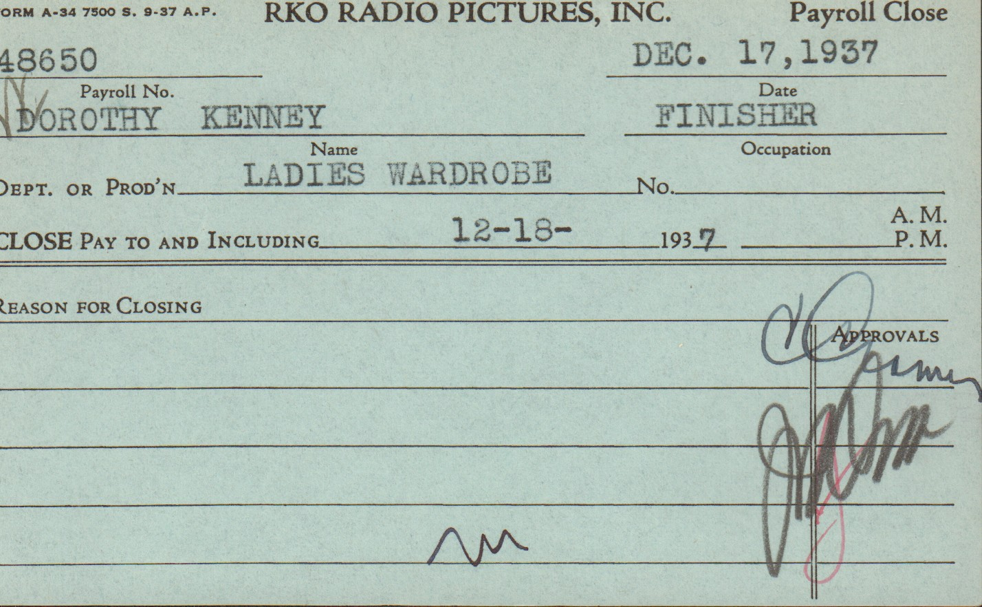 Dorothy Kenney payroll card
