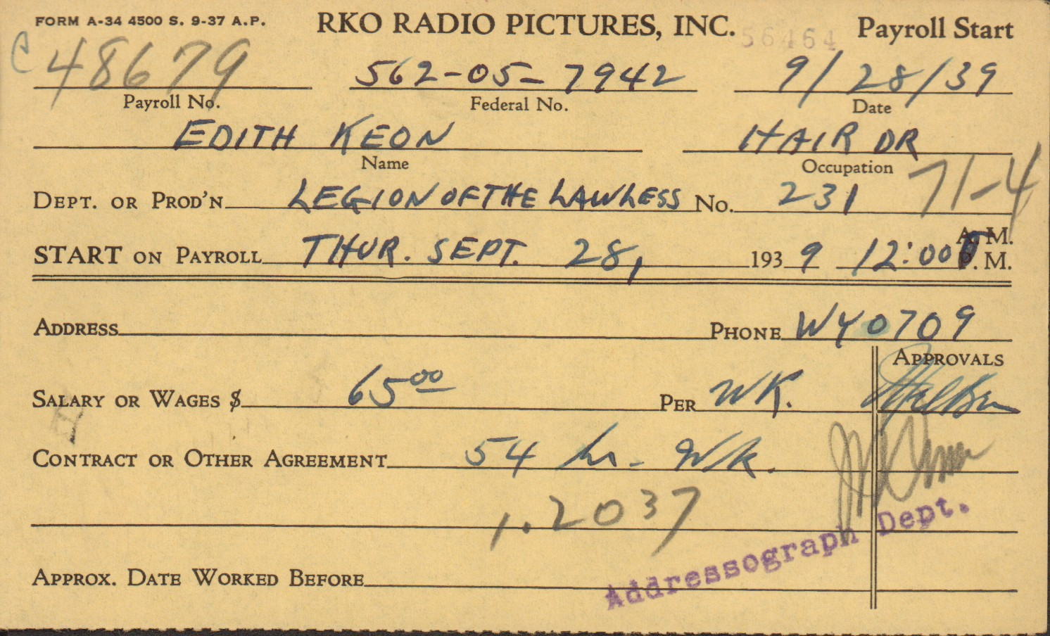 Edith Keon payroll card