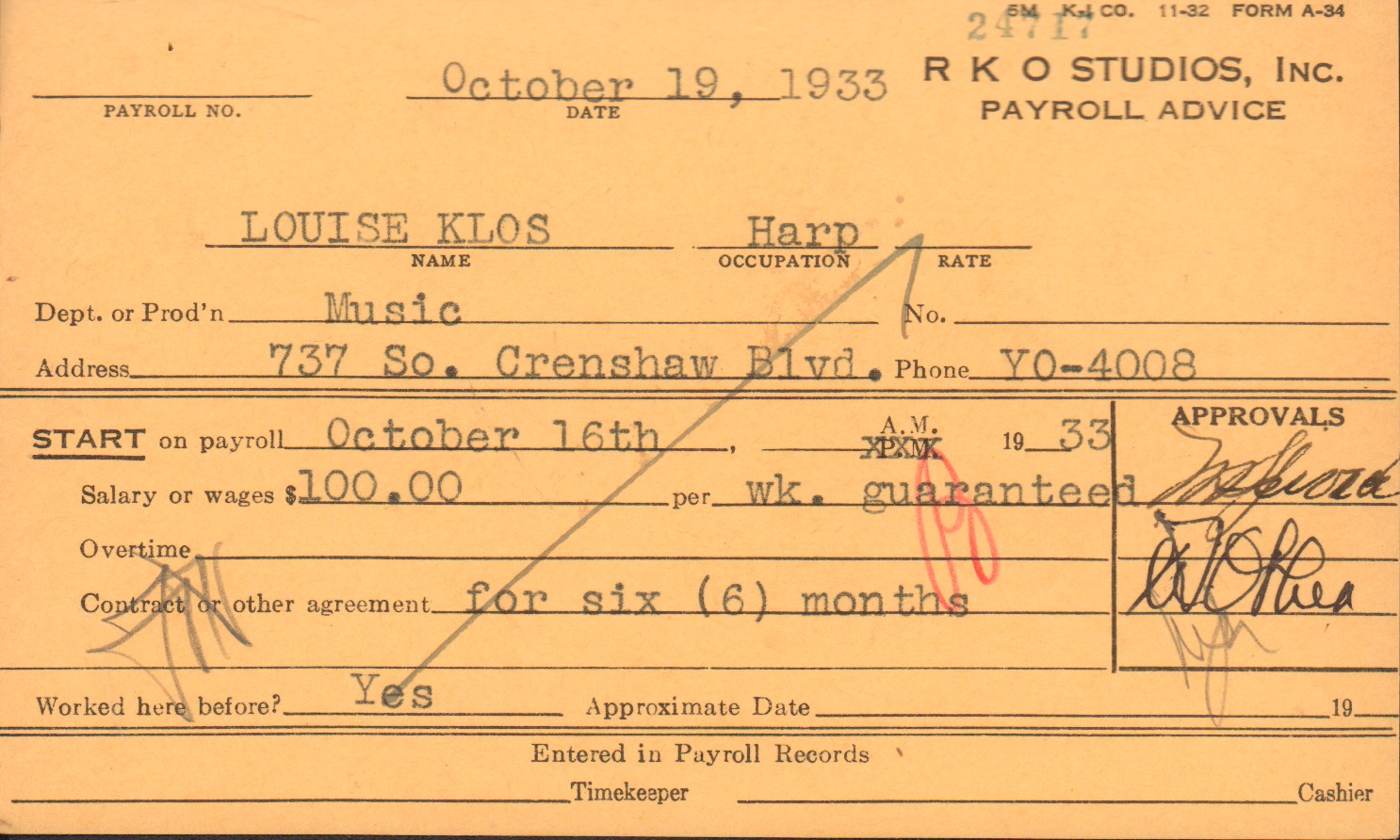 Louise Klos payroll card