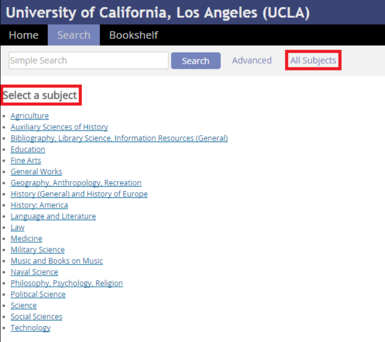 "Screenshot of Select a Subject page with ""All Subjects"" highlighted in red."