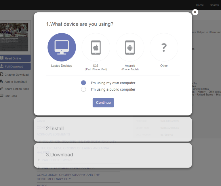 "Screenshot of dialog box asking ""What device are you using?"" with Laptop Desktop and ""I'm using my own computer"" selected."