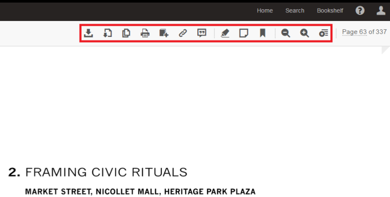 Screenshot of sample page with toolbar highlighted in red.