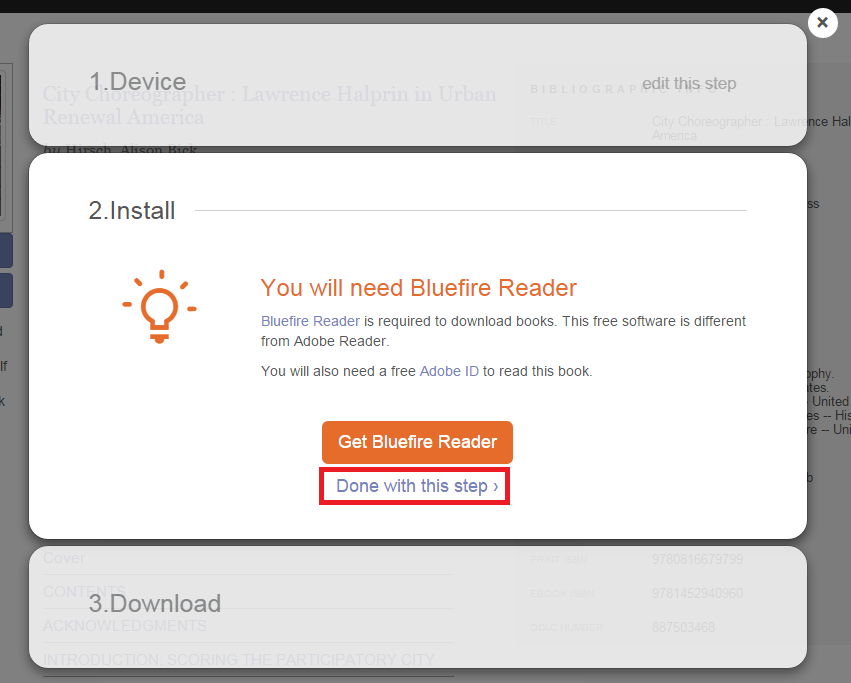 "Screenshot of ""Install"" dialog box, saying ""You will need Bluefire Reader."""