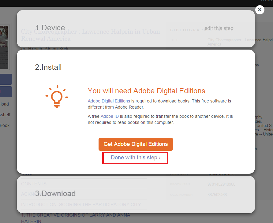 "Screenshot of ""Install"" dialog box, saying ""You will need Adobe Digital Editions."""