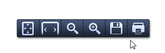 Screenshot of icons to select from that will change size of document, save or print.