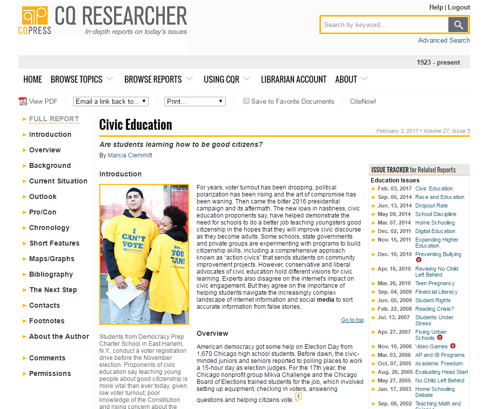 Image of the home page of the database CQ Researcher; links to the database